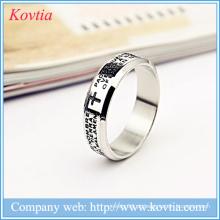 Anéis de ouro branco homens anéis de aço inoxidável cruz bíblia carta anel