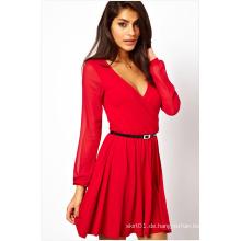 Kurze Frauen Sexy Kleid Langarm V-Neck Skintight für den Sommer