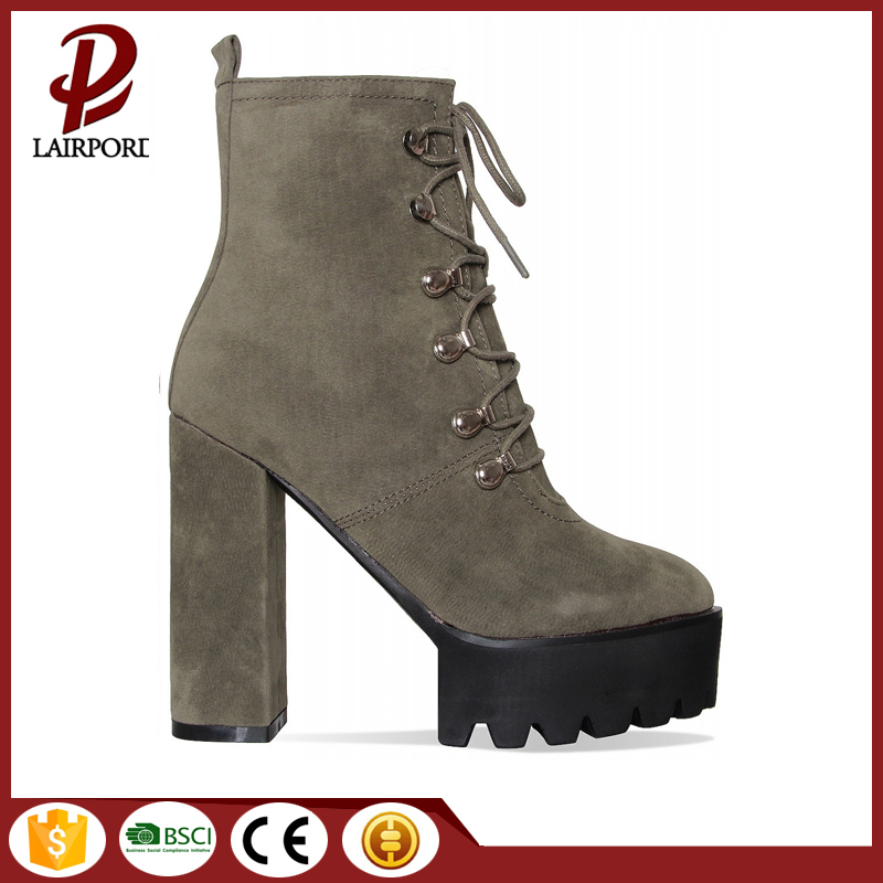 high heel suede women boots with lace