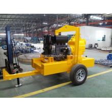 Trailer type trash diesel engine self priming pump