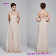 Vestido de dama de honor sin tirantes de encaje bordado