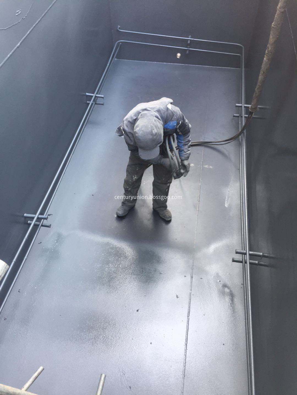 Solvent-free polyurea floor process