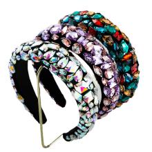 Baroque Gorgeous Resin Wide Headband Luxury Hair Accessories Vingtage Retro Korean Fashion Crown Velvet Sponge Hairband