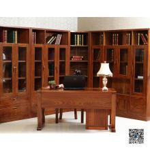 Puerta de vidrio Gabinete de madera de libro (001)