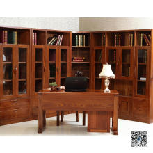 Glass Door Wooden Book Cabinet (001)