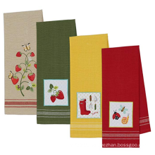 Solid Color Cotton Embroidered Kitchen Towels