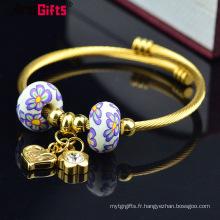Bijoux bracelet à breloques, bracelet jonc de charme européen personnalisé