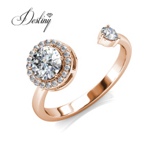 High Quality Round Crystal Open Vintage Adjustable Ring for Women