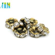 Excelente calidad IA0203 Nickel Black Plating Charm Rhinestone Slider Rondelles Spacer Beads