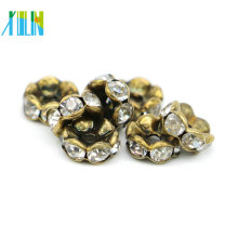 Excellent Quality IA0203 Nickel Black Plating Charm Rhinestone Slider Rondelles Spacer Beads