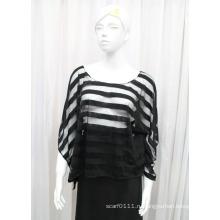 Леди мода полосой полиэстер трикотажные Весна полые рубашка (YKY2211)