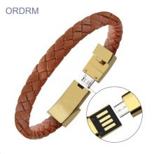 USB Charger Mens Jalinan Brown Leather Bracelet