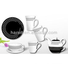 Black White Ceramic Breakfast Kids Set
