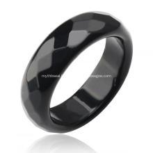 Bague à facettes naturelle avec pierres précieuses agate onyx noir 6MM