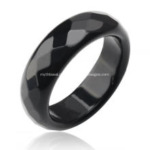 Natural 6mm preto ônix ágata pedras preciosas lapidadas anéis