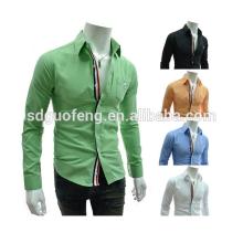 Camisa de moda italiana de lujo del último estilo, camisa formal de algodón orgánico