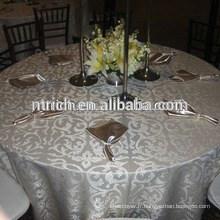 Superbe Polyester taffetas flocage nappe, superposition de table, chemin de table pour les mariages