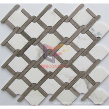 Water Jet Cutting Polished Marble Mosaic for Kitchen Splash (CFS1140)