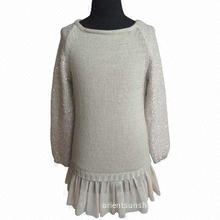 Girls' sweater, 3gg, wool acrylic sequin yarn, chiffon ruffle bottom, long sleeves