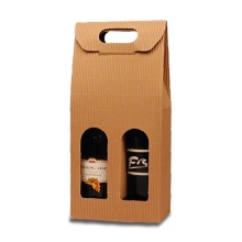 Corrugated 2 Pack Wine Cardboard Bottle Carrier