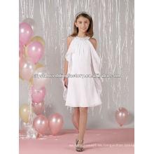 Beaded halter longitud de la rodilla gasa vestido de encargo de la muchacha de flor del desfile CWFaf4458