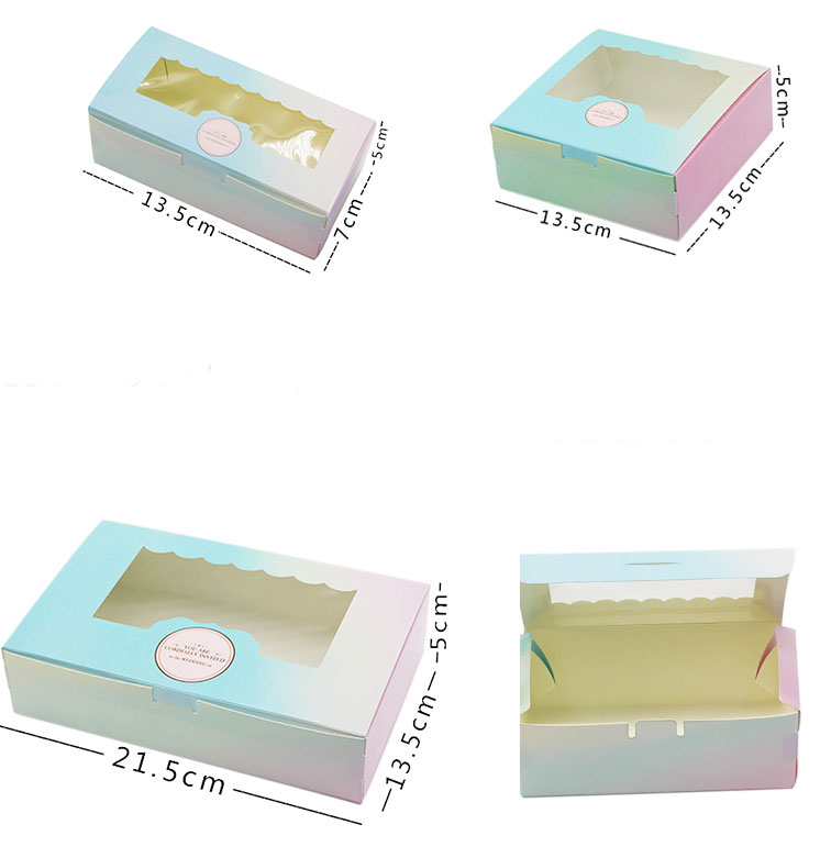 Gradient ramp bakery boxes with window