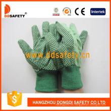 Puntos de algodón de la lona en los guantes de la seguridad del jardín de la palma Dcd204