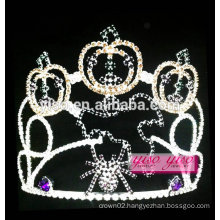 latest model colored fashion pumpkin crystal wholesale tiara
