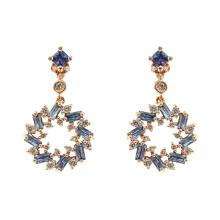 Boucles d'oreilles pendantes en argent sterling 925 avec saphir CZ