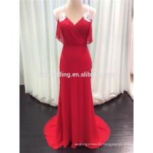 Wholesale Spaghetti Straps V-Neck Crossed Back Beaded Long Design Red Chiffon Slim Evening Dress 2015 Vestidos Femininos C2