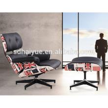 Европейский Стиль популярный кожаный чехол кресло и пуф с большим комфортное пространство сиденья