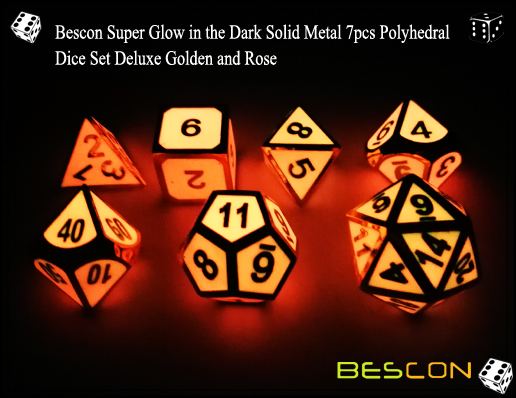 Bescon Super Glow in the Dark Solid Metal 7pcs Polyhedral Dice Set Deluxe Golden and Rose-7