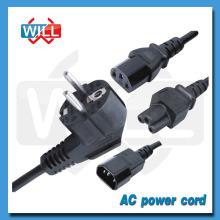 CE VDE ROHS 2pin 3pin euro cable de alimentación de CA con enchufe