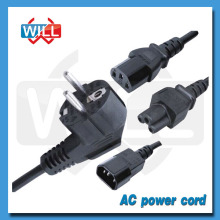 CE VDE ROHS 2pin 3pin Euro AC power cord with plug