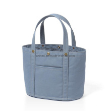 Autumn Fashion Leather Cotton Canvas Bags Simple Color Women Custom Outdoor Tote Bag with Pocket