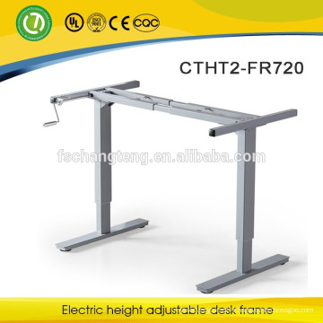 Hand cranked height adjustable laptop desk leg
