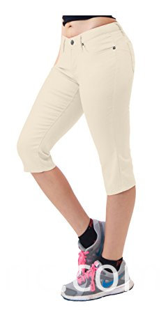 547women S Super Comfy Stretch Denim Capri Jeans