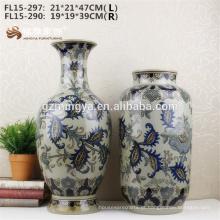 Estilo moderno decoração do chão da casa azul vaso de cerâmica em forma de redondo azul para flores vaso de flores