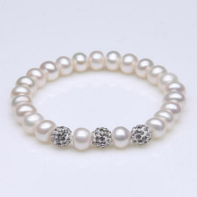 Faux Pearl Stretch Bracelet with Crystal Ball