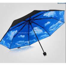 Parapluie pliant triple imprimé promotionnel