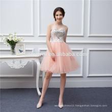 Short Coral Bridesmaid Dresses Beaded Applique Soft Tulle Vestidos De Brides Maid of Honor Dresses Real Photo