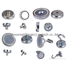 Nickel Coated Neodymium Female Thread Pot Magnet (UNI-Pot-io4)