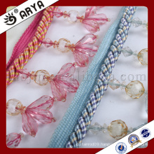 curtain design and colorful flower beads fringe Beaded Trim Fringe for Curtain decoration