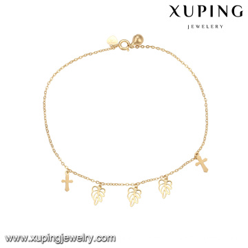 74959 wholesale bestselling fashion jewelry simple design cross and leaf shape anklet with small bell for ladies