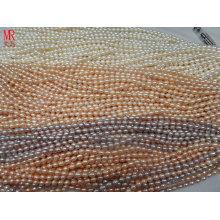 6-7mm AA Grade Rice Shape Pearl Strands, Blanc, Rose, Lavande