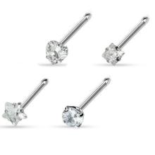 20G Nose Ring bones 4 shapes prong set CZ gem 316L Surgical Steel