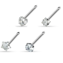 20G Nose Anel ossos 4 formas prong set CZ gem 316L Surgical Steel