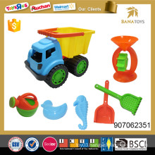 Plastic sand beach toy car with funnel