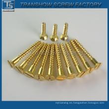 Tornillo de madera de cobre amarillo de la fábrica DIN7997 de China