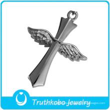 Punk silver cross stainless steel skull wings pendant